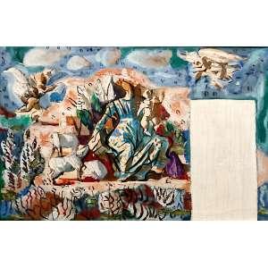 PORTINARI, Candido (Brodowski, SP 1903 — Rio de Janeiro, 1962)<br />31X46 cm./ 55x70 cm.<br />óleo sobre tela.<br />DIVINA PASTORA, 1944<br />Reproduzido no catálogo raisonné do Projeto Portinari<br />2188-FCO1014, volume 3, página 50.<br />(...) Portinari dá início aos estudos de um mural para a casa dos barões de Saavedra − projetada pelo arquiteto Lucio Costa − em Correias, perto de Petrópolis (RJ). O tema escolhido é a Divina Pastora. Em outubro recebe em Brodowski carta da baronesa, dona Carmen Saavedra: Estou desde ontem num entusiasmo enorme com o maravilhoso desenho [...]. Confesso que ultrapassou de muito toda a beleza com que já contava. Estou agora ansiosa por ver começada essa nossa obra.[...] desde ontem ando à procura de Lucio Costa para lhe mostrar o estudo do mural − ele vai ficar louco!