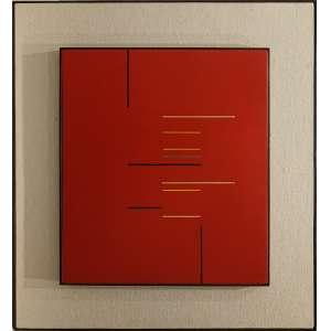 CARVÃO, Aluisio (Belém PA 1920 - Poços de Caldas MG 2001)<br />49x43 cm./ 79x73 cm.<br />óleo sobre madeira. <br />Vermelho, 1955.<br />Certificado de autenticidade por Beatriz Danton Coelho Carvão.