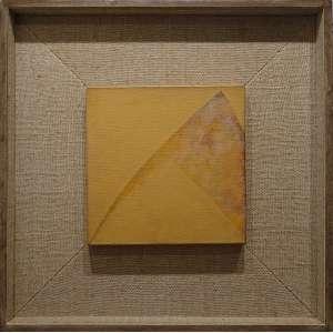 TOMIE OHTAKE (Quioto, Japão 1913 — São Paulo, 2015)<br />30x30 cm./ 62x62 cm.<br />Óleo sobre tela, 1988<br />Amarelo, P88-18<br />Registrado no Instituto Tomie Ohtake
