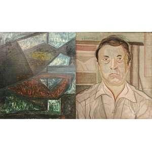 GUIGNARD, Alberto da Veiga Guignard (Nova Friburgo, RJ 1896 - Belo Horizonte, MG, 1962). <br />65x45 cm./ 115x95 cm.<br />FRENTE: Composição construtivista assinada em 1956.<br />VERSO: retrato de Konstantin Christoff (Strajitza, Bulgária 1923-Montes Claros, MG, 2011)<br />Óleo sobre madeira<br /><br />TEXTO CRÍTICO:<br />Em 1943 na Escola Nacional de Belas Artes, sob o titulo de Grupo Guignard, o próprio Guignard orienta, Iberê Camargo e Waldemar Cordeiro.<br /><br />Em 1944, já em Belo Horizonte, em seu curso livre na, hoje chamada, Escola Guignard, freqüentam suas aulas e absorvem suas idéias livres e progressistas, artistas como Amilcar de Castro, Lygia Clark e Farnese de Andrade.<br /><br />Ou seja, importantíssimos movimentos da segunda metade do século XX, tem manifestos produzidos e assinados por grupos, dos quais compunham alunos de Guignard que, por seu temperamento e vastíssimo conhecimento artístico, de formação européia, estimulava-os à criação, à intuição e expressão. Gerando, além da inquietude, a possibilidade de criação de novas linguagens.<br /><br />Certamente estamos diante de uma obra de cunho pessoal de Guignard. Uma obra única de sua coleção, marcada como maneira de propor, provocar e transitar à possibilidade do novo. Para melhor compreender essa obra, além de posicioná-la na época, faz-se necessário sua primaria desconstrução afim de perceber sua concepção construtiva. A obra trás elementos imperativos do concretismo, traços matemáticos e retos. O preenchimento dos espaços, se dá com cores que nos transportam a tons que visualizamos nas obras de outros artistas como: azuis em Lygia Clark, aos marrons em Iberê e aos pretos em Amilcar. O fator cromático também nos remete à época.<br /><br />Essa obra não deve ser tratada como uma obra atípica e sim, como uma raridade. Trata-se de uma obra assinada por um grande artista que influenciou, nesta exata época artistas outros, que subscreveram movimentos transformadores na historia da arte brasileira