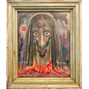 GUIGNARD, Alberto da Veiga Guignard (Nova Friburgo, RJ 1896 - Belo Horizonte, MG, 1962). <br />Cristo<br />Medidas: 46 x 38 cm.<br />Com dedicatoria à Portinari, 1960. Assinado frente e verso.<br />Adquirido na Galeria Pinakotheke, com o Sr. Max Perlingeiro.