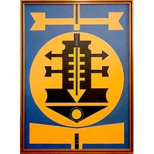Rubem Valentim (Salvador BA 1922 - São Paulo SP 1991)<br />Acrílico sobre tela.<br />Emblema 1987<br />medidas 100 x 73<br />Reproduzido no Catalogo de Evandro Carneiro.