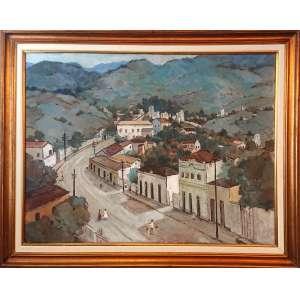 SYLVIO PINTO ( Rio de Janeiro, 1918-1997)<br />med 136 x 100 CM.<br />INSCRIÇÃO NO VERSO: Santa Teresa - Rio de Janeiro, 1950.<br />CONSTA DE CHANCELA: 56 -Salão Nacional de Belas Arte- Medalha de PRATA <br /><br /><br />Recebeu seus primeiros estudos de pintura com seu pai, o pintor Bernardo Pinto da Silva (vulgo Pinto das Tintas, que dividia ateliê com o pintor Garcia Bento), e no Liceu de Artes e Ofícios do Rio de Janeiro.<br /><br />Conheceu e se aproximou de José Pancetti, Armando Viana, Manuel Santiago, Bustamante Sá, Milton Dacosta, Ado Malagoli, Tadashi Kaminagai, Yoshiya Takaoka, entre outros. Esta convivência foi fundamental para a sua formação como pintor. Participou do movimento artístico denominado Núcleo Bernardelli, no Rio de Janeiro, no início década de 1930, núcleo esse que incentivou o movimento modernista na então Capital da República.<br /><br />Em 1939, Pinto fez cenários para peças teatrais e alegorias de carnaval para escolas de samba do Rio de Janeiro. Em 1940 fundou o dirigiu no Jacarezinho, uma pequena escola de arte, gratuita, para crianças pobres. Em 1953-1954, viajou a Lisboa (Portugal), seguindo depois para Madrid e Sevilha (Espanha), logo alcançando Paris (França), onde fixou residência por todo o tempo do prêmio de viagem, obtido no Salão Nacional de Belas Artes.<br /><br />Em 1977 viajou aos Estados Unidos e realiza importante exposição internacional com suas obras. Em 1981 montou um atelier em Ellenville, onde permaneceu por alguns anos.<br /><br />Em 1985, entre o Rio de Janeiro e Ellenville, lança seu livro Vida e Obra em depoimentos, escrito por seu grande amigo, o crítico e pintor brasileiro, Quirino Campofiorito.<br />