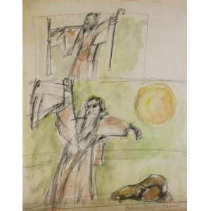 Aldemir Martins (Ingazeiras CE 1922 - São Paulo SP 2006)<br />Antônio Conselheiro (1967) <br />Medidas: 37 x 29,5 cm.<br />Lápis e aquarela s/ papel<br />