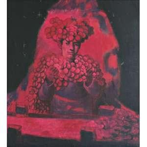 Mário Gruber (Santos,SP 1927 - Cotia SP, 2011)<br />Lantejoula rosa (1987)<br />Medidas: 50 x 45 cm.<br />Óleo sobre tela