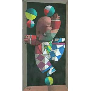 Inos Corradin (Vogogna, Itália,1929)<br />Equilibrista (2011)<br />Medidas: 100 x 50 cm.<br />Óleo sobre tela