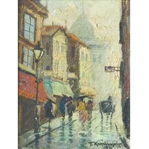 Tadashi Kaminagai (Hiroshima, Japão 1899 - Paris, França 1982)<br />Cena urbana (1976)<br />Medidas: 23 x 18 cm.<br />Óleo sobre tela colada em placa