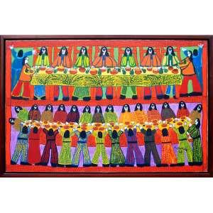 Poteiro, Antonio<br />O.S.T.<br />Medidas tela: 90 x 140 cm. <br />Medida total com moldura: 100 x 150 cm.<br />Santa Ceia, 1985