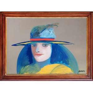 Siron Franco<br />50x70 óleo sobre eucatex, medida total com moldura:61x81 cm.<br />Figura com chapéu.<br />