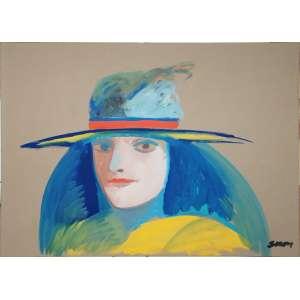 SIRON FRANCO<br />Medidas: 50 x 70 cm. / 61 x 81 cm.<br />Óleo sobre cartão.<br /> 61 x 81 cm.<br />Figura com chapéu