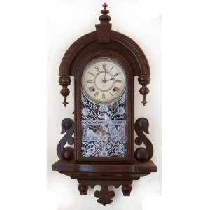 Ansonia Clock company -N.Y- U.S.A. - Modelo Habana, 1901. Frontão com vidro original jateado em pavões. 67x34x13 cm. Peso:4,5 kg.<br />FONTE: http://www.antiqueansoniaclocks.com/Ansonia-Model-0365.php