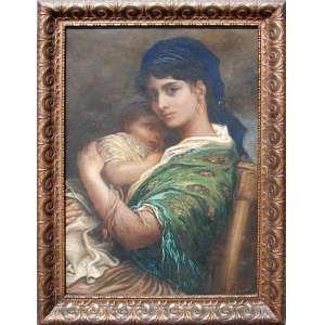 GUSTAV DORÉ (Gustave Paul Louis Doré -France 1832-1883)<br />Medidas: 81 x 55 cm. (com moldura: 95 x 70 cm.)<br />Mãe com filho ao colo, 1881.<br /><br />Comentário: Artista versátil por excelência, empunhando lápis, aquarela ou óleo com tanta felicidade, Gustave Doré foi uma figura importante na arte da segunda metade do século XIX. Desde 1868, ele permaneceu regularmente em Londres, onde vários projetos ambiciosos o aguardavam, especialmente como ilustrador. Suas obras tiveram um certo sucesso em todo o Canal, a capital britânica se tornando seu novo exílio artístico e uma fonte abundante de inspiração.<br />Em 1870, Londres era uma cidade com crescimento considerável, uma cidade enorme onde a população acreditava excessivamente. A capital então se estabeleceu como o maior centro industrial da Europa e, assim, tornou-se o Eldorado de uma força de trabalho cada vez maior. De um milhão de habitantes em 1801, atingirá o pico de quase quatro milhões em 1881. As desigualdades estão crescendo inexoravelmente, os recém-chegados se instalam nos bairros pobres da cidade, onde trabalhadores de fábricas, vendedores de docas, mas também trapaceiros, mendigos, prostitutas e delinqüentes.<br />Esta metrópole atraiu todos os olhos no século XIX e ocupou um lugar importante na imaginação européia: assusta tanto quanto fascina. Gustave Doré, particularmente enfeitiçado por esta nova Babilônia, encontrará nesta efusão londrina um refúgio artístico. Com certo sucesso na Inglaterra, Blanchard Jerrold lhe pediu para ilustrar seu ambicioso projeto: pintar um retrato da capital. O acordo exigia que Doré morasse em Londres três meses por ano, durante cinco anos, para trabalhar nesse negócio. O resultado prodigioso publicado em 1872 é um conjunto de 180 gravuras, particularmente focadas nas desigualdades sociais e na pauperização geradas pela revolução industrial. Embora recebido friamente pelos aristocratas, o livro teve grande sucesso e hoje constitui um verdadeiro tesouro para os histo