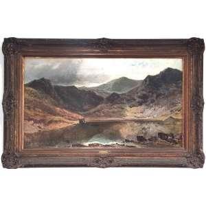 Sir ALFRED DE BREANSKI ( UNITED KINGDON, 1852-1928)<br />MEDIDAS: 50x89-71x110 cm.<br />Óleo sobre tela.<br />lago e montanhas.<br /><br /><br />BIOGRAFIA: Nasceu em Londres em uma família de artistas e vivendo grande parte de sua vida em Greenwich, era casado com Annie Roberts, uma notável artista galesa que conheceu em viagens de pintura ao País de Gales. O casal teve sete filhos, incluindo dois filhos, Gustave e Alfred, que também se tornaram conhecidos por suas pinturas de paisagens. Foi um conhecido pintor de paisagens de cenas galesas e escocesas, especialmente lagos nas montanhas ao pôr do sol, banhados pela luz.<br />De Breanski começou a expor na Royal Academy de Londres em 1869,e também expôs na Royal Society of British Artists, Suffolk Street e na New Watercolor Society. Seu estilo era realista e detalhado.<br />(...)Frequentou a Escola de Arte de St. Martin antes de embarcar em sua própria carreira pintando paisagens naturalísticas do interior da Escócia e do País de Gales. Semelhante a Antoine-Louis Barye e Alfred Barye, ( pai e filho) os De Breanksi trabalharam no mesmo meio com assuntos semelhantes e, portanto, precisaram distinguir suas obras umas das outras por meio de uma assinatura exclusiva. O artista mais tarde viajou para a França na década de 1890 e foi exposto ao estilo Belle Époque, conheceu James Abbott McNeil Whistler . Suas obras começaram a mostrar a influência do impressionismo após seu retorno à Grã-Bretanha, com pinceladas proeminentes e grande atenção dada à luz.(...)<br />ASSINATURA segundo John Castagno, página 89. Vide foto em anexo.<br />OBRAS EM MUSEUS:<br />The Sydney Museum na Austrália,<br />Southampton Art Gallery<br />Laing Art Gallery em Newcastle upon Tyne. <br /><br />REGISTROS EM LEILÕES:<br />LOT 90, SALE 7437 Alfred de Bréanski, Sen. (1852-1928)<br />Summer Showers, Perth; e Bealach-ram-bo, NB<br />PREÇO REALIZADO GBP 46.100<br /><br />Loch Lomond at Sunset<br />LOT 23, VENDA 5306 Alfred de Bréanski, Snr. (1852-1928)<