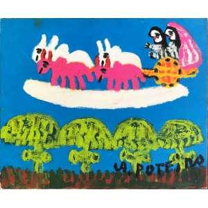 ANTONIO POTEIRO (Aldeia de Santa Cristina da Pousa, Braga, Portugal 1925 - Goiânia, Goiás, 2010).<br />25X30 cm. óleo sobre tela.<br />Casamento no céu<br />2007.<br />Acompanha certificado.