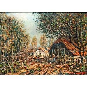 WIN VAN DIJK(Westmaas, Holanda, 1905 – Petrópolis, RJ 1990) <br />23x31 cm./ 49x56 cm.<br />óleo sobre tela<br />Sunny land road -Brabant-Holland, 1970.