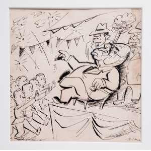 """HILDE WEBER ( Waldau, Alemanha, 1913— São Paulo, 1994)<br />-desenho original à nanquim dos anos 1950. Conhecida chargista política dos principais jornais da época, no Rio e SP, e que teve grande participação na OSIRARTE, estúdio de pintura de azulejos, com Volpi, Zanini e outros, nos anos 1940/50, em SP. <br />TÍTULO: """"Juventude Getulista"""": 51X50 cm."""
