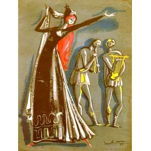 """TOMÁS SANTA ROSA (João Pessoa PB 1909 - Nova Délhi, Índia 1956). <br />""""Personagens de teatro"""",<br /> crayon, 1945. <br />45X37 cm. <br />Santa Rosa foi grande artista e personagem de sua época, porque realizou obra de grande visibilidade como ilustrador de livros e cenógrafo de teatro. Ilustrou mais de 200 livros só para a editora José Olympio, dos melhores autores da época. E no teatro, entre incontáveis produções, fez a premiada e inesquecível cenografia da peça """"Vestido de Noiva"""", de Nélson Rodrigues."""