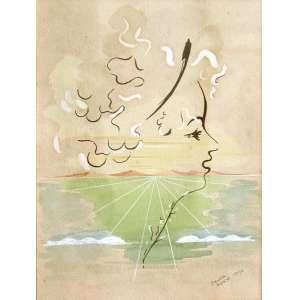 """TOMÁS SANTA ROSA (João Pessoa PB 1909 - Nova Délhi, Índia 1956). <br />""""Perfil de Mulher Surrealista"""", aquarela, 1946. <br />50X44 cm. <br />Santa Rosa foi grande artista e personagem de sua época, porque realizou obra de grande visibilidade como ilustrador de livros e cenógrafo de teatro. Ilustrou mais de 200 livros só para a editora José Olympio, dos melhores autores da época. E no teatro, entre incontáveis produções, fez a premiada e inesquecível cenografia da peça """"Vestido de Noiva"""", de Nélson Rodrigues."""