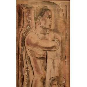 """John Graz (Genebra, 1891 — São Paulo, 1980)<br />""""Figura Masculina"""". Aquarela. SP, anos 1950. <br /> 54.5 X 59.5 cm."""