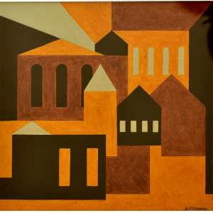"""Arnaldo Ferrari(São Paulo, 1906 —1974)<br />""""Casario geométrico"""", aquarela, SP, anos 1960 <br />60X60 cm."""
