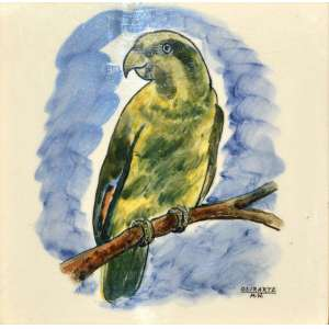 Maria Wochnik- Osirarte. <br /> Azulejo pintado, SP, anos 1950. <br />15X15 cm.