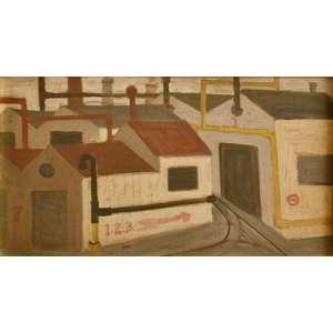 """Guido Totoli (Mercato Silento, Itália, 1937)<br />""""Paisagem Fabril"""". OSE. SP, anos 1960.<br /> 26X49 cm"""