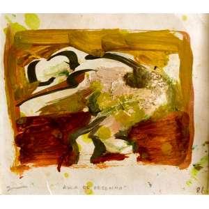 """Jorge Guinle (Nova Iorque, 1947 — 1987)<br /> """"Aula de Pintura"""". <br />OSP. Rio de Janeiro, 1981.<br /> 39X37 cm."""
