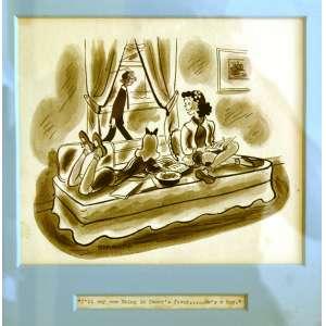 STAMATY -Stanley Stamaty (1916-1979)- Charge, New York, USA, anos 1950. <br />27x42 cm. <br /> (...) Os notáveis desenhos dos anos 40 ou 50 em nanquim.Stamaty estudou na Cincinnati Art Academy e tornou-se um cartunista e ilustrador. Os desenhos animados de Stamaty foram publicados em inúmeras revistas e jornais importantes, incluindo The Saturday Evening Post, The New York Times, Boy's Life, Esquire, Look, Good Housekeeping e muitos outros. Um membro da National Cartoonists Society e da Magazine Cartoonists Guild, o trabalho de Stamaty foi exibido no Metropolitan Museum of Art e no De Young Museum em San Francisco.<br />https://www.nytimes.com/1979/09/15/archives/stanley-stamaty-an-illustrator-for-wellknown-publications-63.html