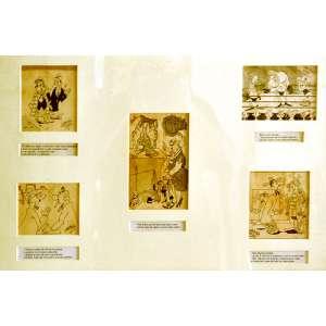 ORLANDO PIZZI - Moldura com 5 charges assinadas. Rio de Janeiro, 1946. <br />57x82 cm. <br />Citado no livro História dos quadrinhos no Brasil,O negro nos quadrinhos do Brasil.<br />(...) Criados pelo veterano desenhista Orlando Pizzi em 1956 para a revista Contos de Fadas da editora La Selva, a dupla de garotos arteiros Duduca e Jambolão teve suas aventuras publicadas durante toda a década de 1960 em revistas como Fantasia e Almanaque Infantil das editoras Outubro e Taika. Eram aventuras vividas em ambiente rural de cidade do interior.<br />Duduca e Jambolão tiveram título próprio pela Outubro nos anos 1960 e pela Taika na década de 1970. Em 1984, Orlando Pizzi,morando em Santos, publicou a série no formato tira diária pelo jornal Notícias Populares de São Paulo.(...)<br />