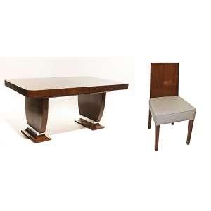 Conjunto de jantar ART DECO- mesa + 2 extensões, e 8 cadeiras. Design de Jayme Fonseca Rodrigues. SP, anos 1930. Mesa: 78x10x170 cm. Cadeiras: 87x48x43 cm.