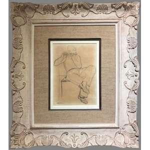 """CÂNDIDO PORTINARI (1903-1962)<br />""""Flautista""""<br />Medidas: 36 x 25 cm.<br />1933<br />Desenho a grafite sobre papel<br />Estudo para a pintura """"Flautista"""". <br /><br />Reproduzido no Catálogo Raisonné - Vol I, pg. 252; Portinari - A Construção de uma Obra, Ed. Dom Quixote, pág. 58; participou da exposição """"Portinari"""", Galeria Praça Roosevelt, SP, 1970. FCO 385"""