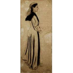 """Portinari<br />""""Nossa Senhora""""<br />Grande desenho a carvão e grafite sobre papel<br />1941<br />Medidas: 64 x 28 cm.<br />Assinatura estampada no canto inferior direito Portinari<br />Estudo para a pintura mural Encontro de Nossa Senhora e Santa Isabel.<br />Reproduzido nos livros: <br />Catálogo Raisonné - Vol. II do artista, pág. 184; <br />Portinari - A Construção de uma Obra, Ed. Dom Quixote, pág. 89. FCO 329<br /><br />SOBRE:<br />Estudou na Escola Nacional de Belas Artes. Interessa-se por um movimento artístico até então considerado marginal: o modernismo.<br />Em 1928 Portinari ganha a medalha de ouro e uma viagem para a Europa, do Salão Nacional de Belas Artes.<br />Em Paris firmou seu estilo quando teve contato com Van Dongen e Othon Friesz.<br />Em 1931, Portinari volta ao Brasil renovado. Muda completamente a estética de sua obra, valorizando mais cores e a ideia das pinturas. Ele quebra o compromisso volumétrico e abandona a tridimensionalidade de suas obras.<br />Expõe três telas no Pavilhão Brasil da Feira Mundial em Nova Iorque de 1939. Os quadros chamam a atenção de Alfred Barr, diretor geral do MoMA Nova Iorque, que compra a tela Morro do Rio e imediatamente a expõe no Museu, ao lado de artistas consagrados mundialmente.<br />O interesse geral pelo trabalho do artista brasileiro faz Barr preparar uma exposição individual para Portinari em plena Nova Iorque.<br />Portinari pintou dois murais para a Biblioteca do Congresso em Washington.<br />Na 1° Bienal de São Paulo Portinari teve com destaque em uma sala particular.<br />No começo de 1962, a prefeitura de Barcelona convida Portinari para uma grande exposição com 200 telas.<br />Em 1941. Pinta mural para o edifício da Biblioteca do Congresso, Washington, DC com o título A descoberta da terra.<br />Pintou temas sociais, históricos, religiosos, trabalho no campo e na cidade, tipos populares, festas populares, infância, folclore, a fauna, a flora a paisagem e até os retratos dos grandes brasileiros de"""