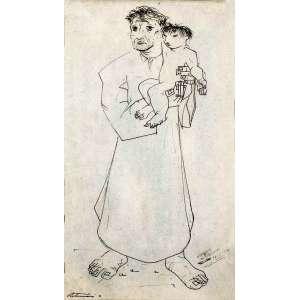 """Portinari<br />""""Jesuíta""""<br />Grande desenho a nanquim bico-de-pena e lápis sobre cartolina<br />Medidas: 46 x 27 cm.<br />1941<br />Reproduzido nos livros: <br />Catálogo Raisonné - Vol. II do artista, pág. 272; <br />Portinari - A Construção de uma Obra, Ed Dom Quixote, pág. 87; <br />Portinari: o Lavrador de Quadros, 2003, pág. 116; <br />Participou das exposições: <br />Portinari, Galeria Praça Roosevelt, SP, 1970; <br />30 Desenhos de Portinari, Centro de Arte Moderna da Fundação Calouste Gulbenkian, Lisboa, 1987; <br />Portinari: Retrospectiva, Museu de Arte de São Paulo Assis Chateaubriand, 1997. FCO 400<br /><br />SOBRE:<br />Estudou na Escola Nacional de Belas Artes. Interessa-se por um movimento artístico até então considerado marginal: o modernismo.<br />Em 1928 Portinari ganha a medalha de ouro e uma viagem para a Europa, do Salão Nacional de Belas Artes.<br />Em Paris firmou seu estilo quando teve contato com Van Dongen e Othon Friesz.<br />Em 1931, Portinari volta ao Brasil renovado. Muda completamente a estética de sua obra, valorizando mais cores e a ideia das pinturas. Ele quebra o compromisso volumétrico e abandona a tridimensionalidade de suas obras.<br />Expõe três telas no Pavilhão Brasil da Feira Mundial em Nova Iorque de 1939. Os quadros chamam a atenção de Alfred Barr, diretor geral do MoMA Nova Iorque, que compra a tela Morro do Rio e imediatamente a expõe no Museu, ao lado de artistas consagrados mundialmente.<br />O interesse geral pelo trabalho do artista brasileiro faz Barr preparar uma exposição individual para Portinari em plena Nova Iorque.<br />Portinari pintou dois murais para a Biblioteca do Congresso em Washington.<br />Na 1° Bienal de São Paulo Portinari teve com destaque em uma sala particular.<br />No começo de 1962, a prefeitura de Barcelona convida Portinari para uma grande exposição com 200 telas.<br />Em 1941. Pinta mural para o edifício da Biblioteca do Congresso, Washington, DC com o título A descoberta da terra.<br />Pin"""