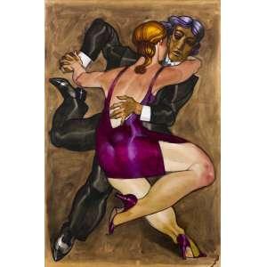 """Juarez Machado<br />""""Sem Título""""<br />Técnica Mista<br />Medidas: 113 x 77 cm.<br />2009<br />Reproduzido no Livro: Um passeio pelo mundo de Juarez Machado, página 145.<br /><br />O artista plástico juarez Machado, pioneiro do desenho de humor na televisão brasileira, teve um quadro de enorme sucesso nos primeiros anos do Fantástico: vinhetas animadas nas quais ele atuava como mímico – ou, na sua própria definição, um """"desenhista do gesto"""" – ao som de um tema composto pelo maestro Júlio Medaglia.<br /><br />juarez Machado trabalhava como cenógrafo da Globo quando – inspirado na coluna de humor Nonsense, que assinava no Jornal do Brasil – teve a ideia de emprestar o corpo para dar vida aos seus desenhos. No seu quadro, exibido até 1978, juarez interagia com os próprios desenhos e se apresentava com o rosto pintado de branco e vestindo uma fantasia que era uma mistura de boneco e palhaço.<br /><br />As performances invariavelmente terminavam com o mímico desenhando uma linha de trem, uma passarela ou uma trilha de pegadas, por onde ele caminhava até desaparecer na tela. A estrada sempre foi um tema recorrente na obra de juarez Machado e aparecia representada de várias formas em muito dos seus desenhos.<br /><br />"""
