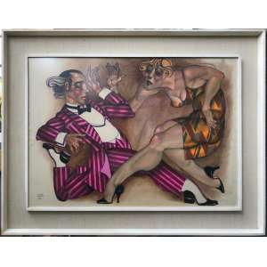 """Juarez Machado<br />""""Casal""""<br />Técnica Mista<br />2016<br />Medidas: 70 x 100 cm.<br /><br />O artista plástico juarez Machado, pioneiro do desenho de humor na televisão brasileira, teve um quadro de enorme sucesso nos primeiros anos do Fantástico: vinhetas animadas nas quais ele atuava como mímico – ou, na sua própria definição, um """"desenhista do gesto"""" – ao som de um tema composto pelo maestro Júlio Medaglia.<br /><br />juarez Machado trabalhava como cenógrafo da Globo quando – inspirado na coluna de humor Nonsense, que assinava no Jornal do Brasil – teve a ideia de emprestar o corpo para dar vida aos seus desenhos. No seu quadro, exibido até 1978, juarez interagia com os próprios desenhos e se apresentava com o rosto pintado de branco e vestindo uma fantasia que era uma mistura de boneco e palhaço.<br /><br />As performances invariavelmente terminavam com o mímico desenhando uma linha de trem, uma passarela ou uma trilha de pegadas, por onde ele caminhava até desaparecer na tela. A estrada sempre foi um tema recorrente na obra de juarez Machado e aparecia representada de várias formas em muito dos seus desenhos."""