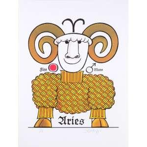 Ziraldo<br />Série signos<br />80 x 60 cm<br />Fine Art PA<br />Aries<br /><br />Em 1954 começou no jornal Folha da Manhã, atual Folha de S.Paulo. <br />Rm 1957 estava na revista O Cruzeiro <br />Em 1963 no Jornal do Brasil<br />Em 1960 lançou a primeira revista em quadrinhos brasileira feita por um só autor, alcançando uma das maiores tiragens da época. Em 1986 a Editora Primor relançou e na década de 1990 novamente a Editora Abril relança em forma de almanaque.<br />Em 1960, no 32º Salão Internacional de Caricaturas de Bruxelas, recebeu o Nobel Internacional de Humor <br />Em 1960 recebeu o prêmio Merghantealler, principal premiação da imprensa livre da América Latina.<br />Foi fundador e posteriormente diretor do periódico O Pasquim.<br />Em 1980, lançou o livro O Menino Maluquinho, maior sucesso editorial, mais tarde adaptado para televisão e cinema. <br />Ilustrações de Ziraldo já figuraram em publicações internacionais como as revistas Private Eye da Inglaterra, Plexus da França e Mad, dos Estados Unidos.