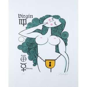 Ziraldo<br />Série signos<br />80 x 60 cm<br />Fine Art PA<br />Virgin<br /><br />Em 1954 começou no jornal Folha da Manhã, atual Folha de S.Paulo. <br />Rm 1957 estava na revista O Cruzeiro <br />Em 1963 no Jornal do Brasil<br />Em 1960 lançou a primeira revista em quadrinhos brasileira feita por um só autor, alcançando uma das maiores tiragens da época. Em 1986 a Editora Primor relançou e na década de 1990 novamente a Editora Abril relança em forma de almanaque.<br />Em 1960, no 32º Salão Internacional de Caricaturas de Bruxelas, recebeu o Nobel Internacional de Humor <br />Em 1960 recebeu o prêmio Merghantealler, principal premiação da imprensa livre da América Latina.<br />Foi fundador e posteriormente diretor do periódico O Pasquim.<br />Em 1980, lançou o livro O Menino Maluquinho, maior sucesso editorial, mais tarde adaptado para televisão e cinema. <br />Ilustrações de Ziraldo já figuraram em publicações internacionais como as revistas Private Eye da Inglaterra, Plexus da França e Mad, dos Estados Unidos.