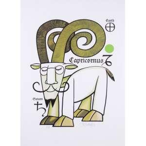 Ziraldo<br />Série signos<br />80 x 60 cm<br />Fine Art PA<br />Capricornus<br /><br />Em 1954 começou no jornal Folha da Manhã, atual Folha de S.Paulo. <br />Rm 1957 estava na revista O Cruzeiro <br />Em 1963 no Jornal do Brasil<br />Em 1960 lançou a primeira revista em quadrinhos brasileira feita por um só autor, alcançando uma das maiores tiragens da época. Em 1986 a Editora Primor relançou e na década de 1990 novamente a Editora Abril relança em forma de almanaque.<br />Em 1960, no 32º Salão Internacional de Caricaturas de Bruxelas, recebeu o Nobel Internacional de Humor <br />Em 1960 recebeu o prêmio Merghantealler, principal premiação da imprensa livre da América Latina.<br />Foi fundador e posteriormente diretor do periódico O Pasquim.<br />Em 1980, lançou o livro O Menino Maluquinho, maior sucesso editorial, mais tarde adaptado para televisão e cinema. <br />Ilustrações de Ziraldo já figuraram em publicações internacionais como as revistas Private Eye da Inglaterra, Plexus da França e Mad, dos Estados Unidos.