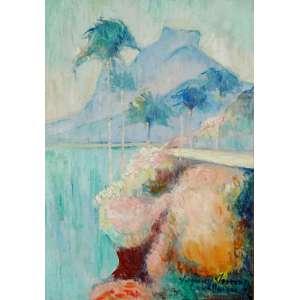 YVONNE VISCONTI CAVALLEIRO (França, Paris, 1901 / Brasil, RJ, 1965) <br />Pedra da Gávea.<br />Óleo s/ madeira<br />Ass. cid. <br />Medidas: 28 x 20 cm. / 42 x 34 cm.<br />Apresenta selo no verso da Galeria Mauricio Pontual - Século XX, Rio de Janeiro.<br /><br />Filha do pintor Eliseu Visconti. <br />Em 1950, estudou com André Lhote na França e Goeldi no Brasil.<br />De 1935 a 1937 3studou Escola Politécnica do Rio de Janeiro. <br />Auxiliou seu pai na pintura dos painéis do Palácio do antigo Conselho Municipal do Rio de Janeiro. Casou-se com Henrique Cavalleiro.<br /><br />Em 1964, recebeu Medalha de Ouro do SNBA.<br /><br />Participou inúmeras vezes do Salão Nacional de Belas Artes, obtendo sucessivas premiações em arte decorativa. <br /><br />Exposições póstumas:<br />Salão do Palace Hotel (1965), <br />Galeria Decor (1966), <br />Galeria Arte Global (1973).