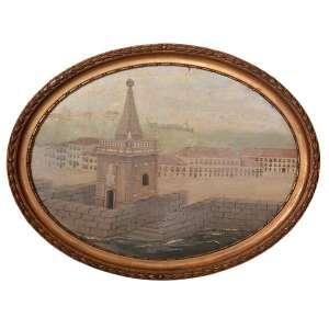 PINTOR ANÔNIMO <br />ICONOGRAFIA DO RIO DE JANEIRO, Séc. XIX, circa 1850. <br />Óleo sobre placa de madeira (oval) emoldurado.<br />Medidas: 33 x 46 cm <br /><br />Rara Iconografia do Cais do Rio de Janeiro com Chafariz Mestre Valentin e cidade ao Fundo <br />(Palácio dos Vice Reys; o Carmo; a Sé Velha; o Colégio dos Jesuítas; o forte de São Sebastião). Este cais foi feito por Jacques Funk e data do de 1789.