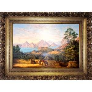 ARTISTA VIAJANTE NO BRASIL<br /><br />BARRAUD, Charles Decimus (1822–1897) Voyager<br />Medidas: 61. X 91,4 cm tela<br />Observação: O artista esteve no Rio de Janeiro em 1878, pintou várias aquarelas e somente este óleo no Rio de Janeiro conhecido.<br /><br />Charles Decimus Barraud nasceu, Londres, Inglaterra, em 9 de maio de 1822. Casou-se em 17 de março de 1849 na Igreja de São Lourenço. Logo após o casamento, emigraram para a Nova Zelândia onde foi farmacêutico. Sua farmácia em Lambton Quay foi destruída por um incêndio e, em 1887 aposentou-se, dedicando totalmente à arte.<br /><br />Barraud ganhou reconhecimento e suas pinturas de 1850 em diante são de considerável valor histórico. <br /><br />Possui obras na Biblioteca Nacional da Austrália e em vários museus. Uma das fotos mais conhecidas de Barraud, 'Interior da Igreja de Otaké', foi reproduzida como litografia por R. K. Thomas e mostra o interior de Rangiatea.<br /><br />Na Inglaterra uma seleção de suas obras foi reproduzida como portfólio, gráfica e descritivo da Nova Zelândia, publicado em Londres em 1877. <br /><br />Contém um total de 74 cromolitografias, litografias incolores e xilogravuras, com um texto de WTL Travers, O litógrafo foi C. F. Kell.<br /><br />https://collections.tepapa.govt.nz/object/37105<br />https://www.watercolourworld.org/painting/rio-de-janeiro-tww001da3<br />https://tiaki.natlib.govt.nz/#details=ecatalogue.48203<br />==========================================================================<br />Suas obras estão em Museus da Nova Zelândia, Londres etc...<br /><br />https://www.artprice.com/artist/1504/charles-decimus-barraud/painting/6331448/view-of-rio-de-janeiro-from-the-hills<br />