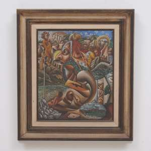 TOBIAS MARCIER <br />Barbacena, 1948 - 1982<br />Figuras da Memória nº 6.<br />Óleo s/ tela <br />Medidas: 55 X 46 cm.<br />Ass. inf. direito <br />Datado 1978 <br /><br />Esta obra participou da exposição do artista realizada em abril de 1979, na Galeria B 75 Concorde. <br /><br />Em 1973 fez sua primeira exposição na Galeria Bonino, no Rio de Janeiro. <br />Foi influenciado seu pai, Emeric Marcier, Giorgio de Chirico e Ismael Nery. <br />Sua obra é caracterizada por elementos cotidianos, figuras humanas, objetos e animais, associados àsímbolos, conferindo narrativa do irreal a atmosfera de sonho.