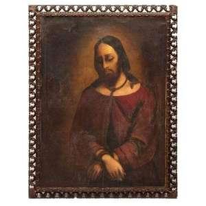 Escola Espanhola - Século XVII/XVIII <br />Cristo <br />O.S.T. <br />Medidas: 119 x 87 cm.<br />Necessita de pequenos restauros<br /><br />ECCE HOMO– ( Eis o Homem)- BOM JESUS DO LIVRAMENTO -<br />Sob essa invocação, venera-se a imagem de Jesus Cristo, em diferentes episódios de sua Paixão: Atado a Coluna, Na Pedra Fria, vestido de manto vermelho, a cana ao invés de cetro, a coroa de espinhos.<br />