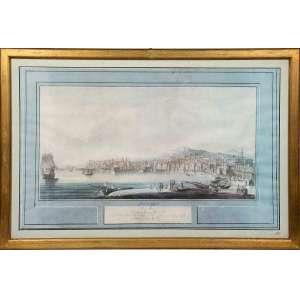 JOSEPH TOFANI-DE FLORENCE - 1808. <br />Belíssima gravura aquarelada com anotações, representando Porto de Nápoles <br />Apresenta marca d'água Antica Libéria Regina. <br />Medidas: 46 x 54 cm.