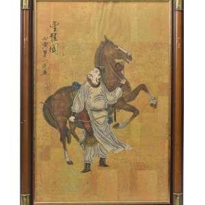 PAR AQUARELAS CHINESAS SELO VERMELHO ASSINADAS<br />Par de pinturas chinesas sobre papel policromado e dourado, representando Cavaleiro e Arqueiro. Apresenta inscrições e selo vermelho CSE. Assinada. China, século XVIII. Medidas: 78 x 55 cm (emoldurada).<br />