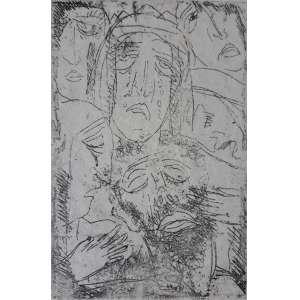 GUIGNARD <br />Alberto da Veiga Guignard<br />Jesus entre as mulheres, 1939.<br />Gravura em metal, ponta seca.<br />Tiragem: 09/10<br />Dimensão imagem: 10,8 x 7 cm.<br />Dimensão da folha: 26 x 17,3 cm. <br />Obs: Assinatura a nanquim e outra assinatura na dedicatória Offerece ao Senhor Floriano Bicudo, sinceramente, Guignard. Bicudo é o autor do livro Primeiras manifestações da gravura no Brasil. Procedência: Ciro Carpentieri Neto, Belo Horizonte, MG, que herdou do pai.<br /><br /><br />