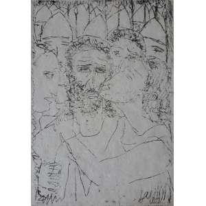 GUIGNARD <br />Sem título – (O beijo de Judas), 1939.<br />Gravura em metal, ponta seca. Sem moldura.<br />Tiragem: 09/10<br />Dimensão imagem: 10,8 x 7 cm. Dimensão da folha: 26 x 17,3 cm.<br />Obs: Assinatura a nanquim e outra assinatura na dedicatória Offerece ao Senhor Floriano Bicudo, sinceramente, Guignard. Bicudo é o autor do livro Primeiras manifestações da gravura no Brasil.<br />Procedência: Ciro Carpentieri Neto, Belo Horizonte, MG, que herdou do pai.<br /><br />