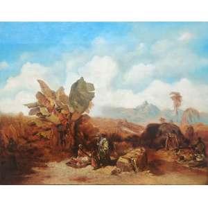 ARTISTA VIAJANTE – PERIODO DO IMPÉRIO<br /><br />HILDEBRANDT - Eduard Hildebrandt (Dantzig/Alemanha [atual Gdansk/Polônia], 1817 ou 1818 Berlim/Alemanha, 1868 ou 1869)<br /><br />66 x85 cm assinado cie <br />óleo sobre madeira.<br />Selo exposição no verso PAISAGEM DO RIO DE JANEIRO- ENGENHO VELHO- Paisagem do Rio de Janeiro , – Estudo do o.s.t. da Pinacoteca do Estado de São Paulo -Brasil <br /><br />Pintor e desenhista alemão. Hildebrandt recebeu suas primeiras lições artísticas de seu pai. Ainda jovem, em 1837, mudou-se de Dantzig para Berlim, chegando a visitar alguns estúdios de pintores. Apesar de ter nascido em família pobre, estudou em Berlim entre 1838 e 1840, quando realizou uma viagem de estudos para a ilha de Ruegen, onde descobriu a paisagem da costa do Mar Báltico alemão, utilizando-a como tema para suas pinturas. Visitou ainda a Escandinávia, a Inglaterra e a Escócia com o propósito de conhecer o entorno da costa do mar do norte. Após seu retorno, foi trabalhar no estúdio do pintor de temas marinhos William Krause, que lhe recomendou uma viagem à França. Em 1842, fixou-se em Paris para estudos, sendo influenciado pelo detalhismo de Jean-Baptiste Isabey, de quem foi aluno. Em 1843, participou da Exposição do Salão de Paris com uma pintura de gênero, com a qual foi premiado com medalha de ouro. Voltou a Berlim neste mesmo ano. Em 1844, recomendado por Alexander Von Humboldt, obteve um prêmio de viagem, financiado pelo imperador da Prússia Frederico Guilherme IV, que o levou ao Brasil entre março e outubro desse mesmo ano. Visitou o Rio de Janeiro, São Paulo, Salvador e Recife, de onde partiu posteriormente para os EUA. Durante sua estadia no Brasil, produziu cerca de 170 aquarelas e desenhos (pertencentes ao Museu de Berlim), a maior parte retratando paisagens naturais, fauna e flora, tipos humanos e vistas citadinas. A viagem às Américas foi decisiva na vida artística de Hildebrandt, pois houve uma diminuição significativa da produção de paisagens marí
