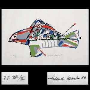 ALDEMIR MARTINS (1922 - 2006)<br />Serigrafia em prancha solta - Peixe , P.I. VIII/X, Assinado e datado, 86.<br />Med. 50 x 70 cm. Sem moldura.<br />Marca d'água do impressor Velim Salto