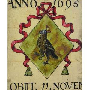 BRASÃO ANNO 1695 OBIIT. 11 NOVEM. <br />Original em pergaminho de época aquarelado e emoldurado, século XVIII. <br />Medidas: 49 x 41 cm. / 70 x 62 cm.